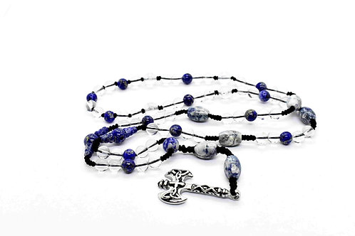 Lapis Lazuli & Rock Crystal Rosary Necklace, with Silver tone Double Axe