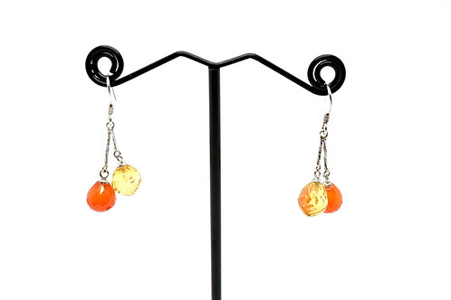 Carnelian and Citrine Natural Gemstone Earrings with 925 Sterling Silver