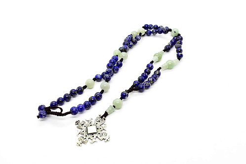 Lapis Lazuli & Aventurine Jade Rosary Necklace, with Sterling Silver Cross