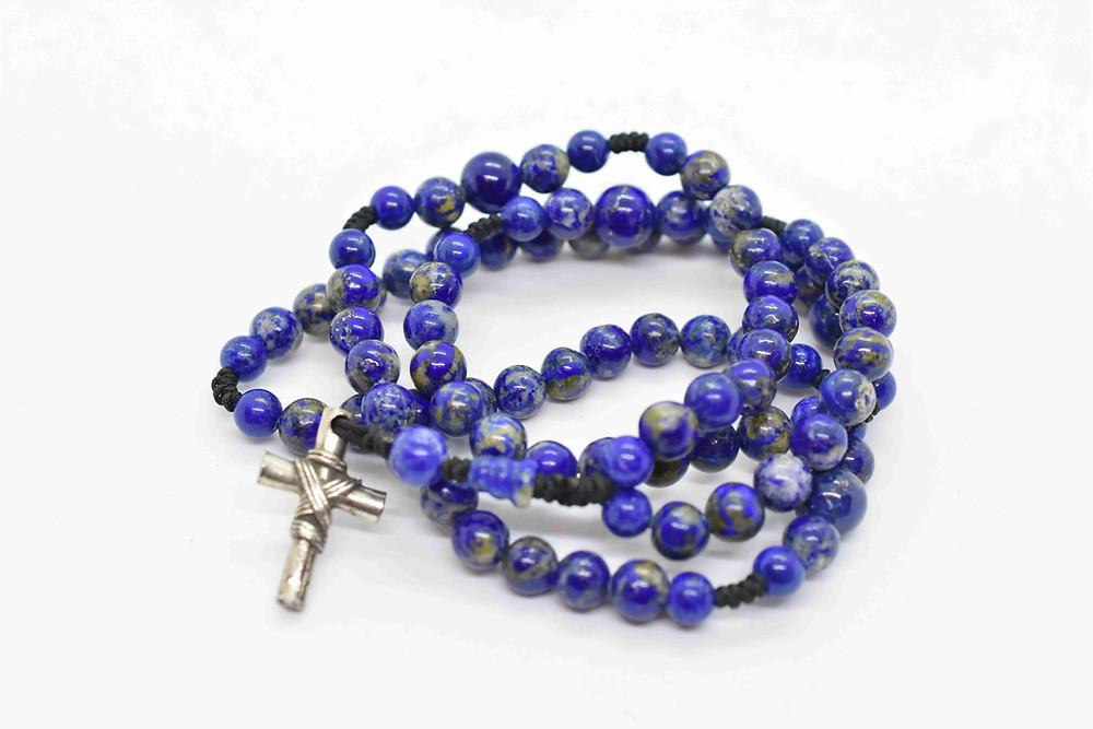 Lapis Lazuli Handcrafted  Rosary Necklace - komboloinyc