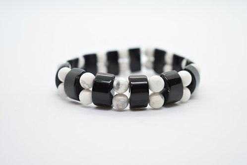 Black Onyx & Hawlite Natural Semi Precious Stones Women's Bracelet