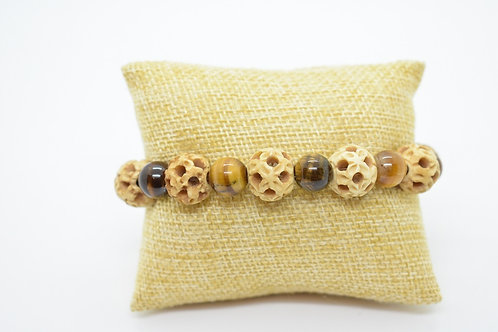 Tiger's Eye Natural Gemstone & Natural Bone, Handcrafted Unisex Bracelet