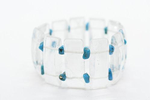 Natural Rock Crystal & Mini Turquoise Natural Gemstone Women's Bracelet