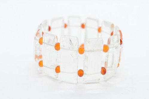 Natural Rock Crystal and Mini Carnelian Chips, Natural Gemstone Women's Bracelet