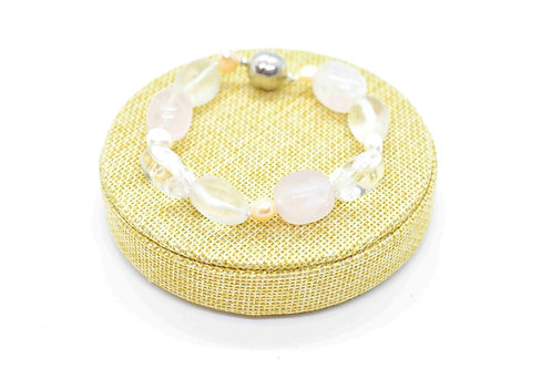 Bracelet made of Rose Quartz with Rock Crystal Gemstones, Pink & White Pearls