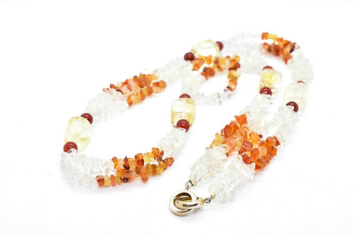 Handmade long Necklace made of Carnelian, Citrine, Rock Crystal, and Red Jade