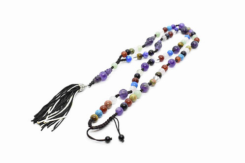 Handmade Multi Color Natural Gemstone Rosary Necklace