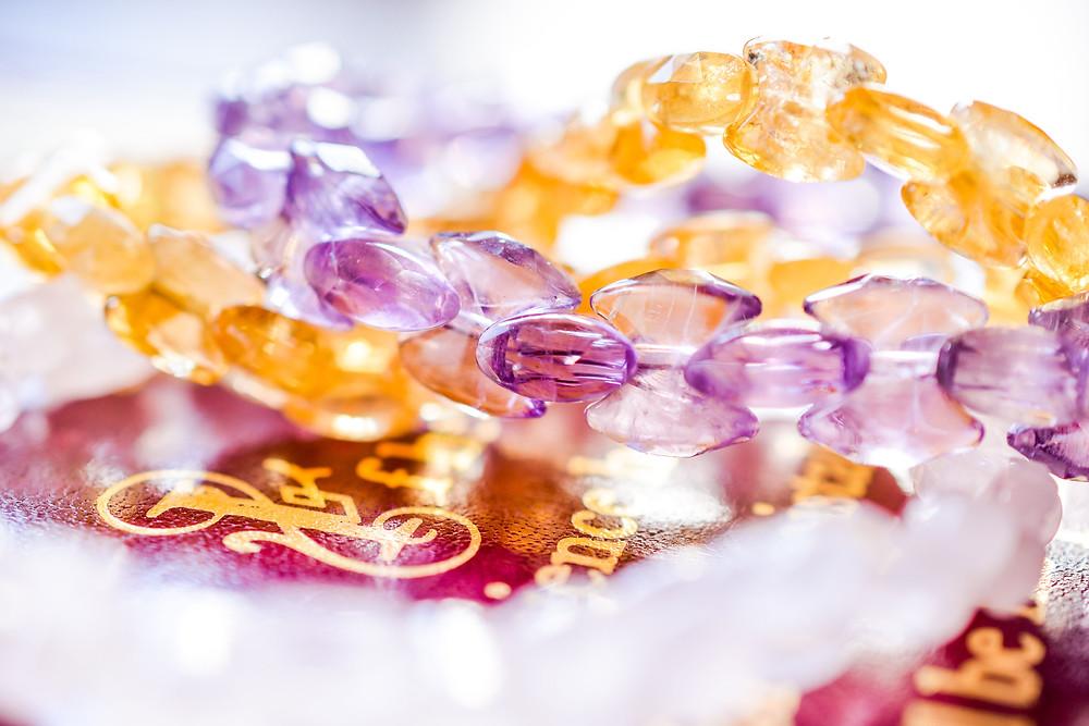 Amethyst, Citrine, Pink Quartz, Natural Gemstone Bracelets