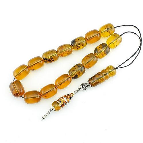 Handmade komboloi, transparent natural Amber, 925 enameled Silver details