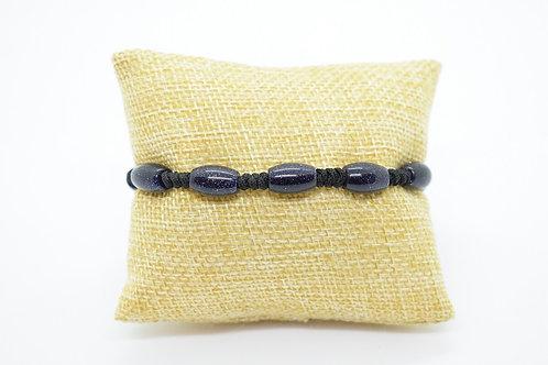 Hand Knotted Unisex Bracelet made of Dark Blue Goldstone