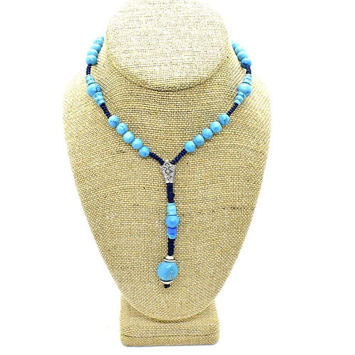 Handmade Long Turquoise Necklace, Silver Tone Parts, Adjustable Length