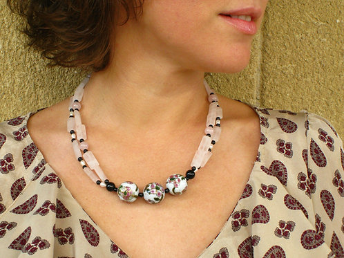 """Handmade natural Gemstone Necklace, decorated with Vintage """"Cloisonne"""" beads"""