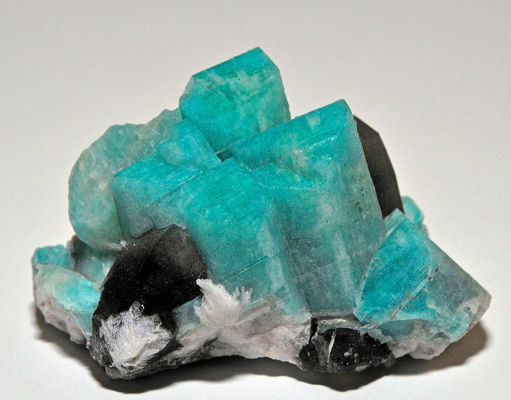 Crystals of Amazonite, from Pikes Peak, El Paso County, Colorado