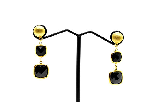Drop Earrings, Black Onyx Gemstone on 18K Gold covered 925 Sterling Silver