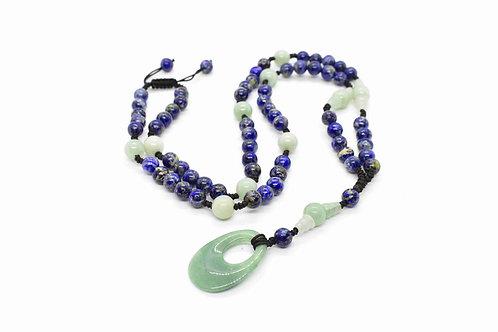 Handmade Rosary Necklace made of Lapis Lazuli & Aventurine Jade