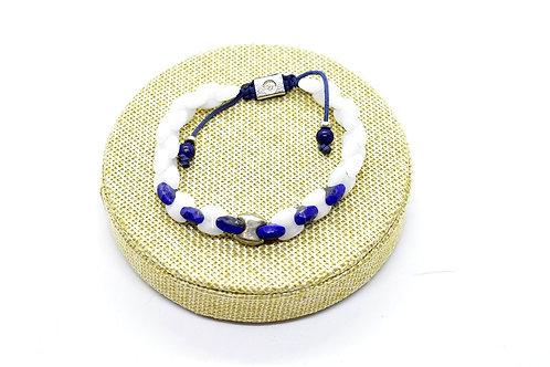 Quartzite & Lapis Lazuli Handcrafted Bracelet with Silver tone parts