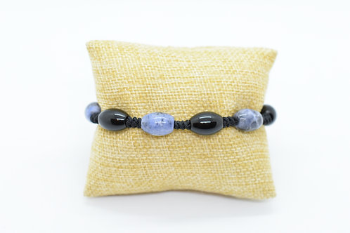 Black Agate & Sodalite Natural Gemstone Hand Knotted Bracelet