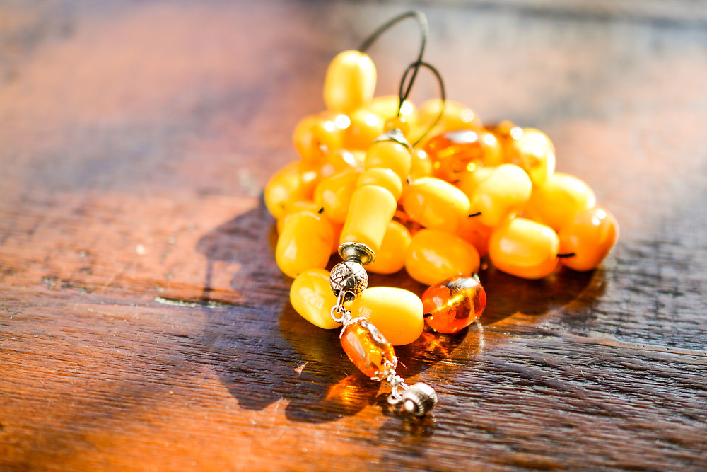 Genuine Baltic Amber Worry Beads, of Natural Yellow and Honey color