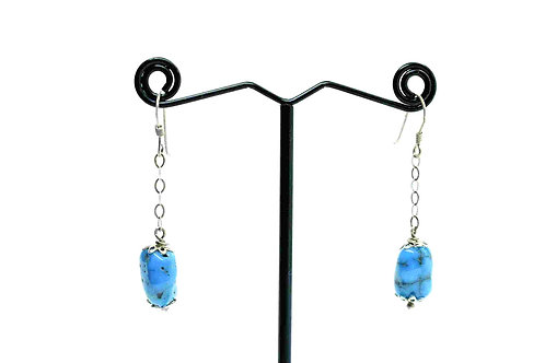 Earrings handmade with Natural Turquoise & Silver