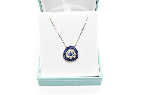 Women's Necklace,Cubic Zirconian,Gold-covered 925 Silver, Hand-Enameled