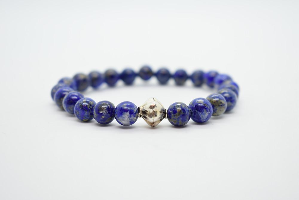 Lapis Lazuli & Sterling Silver Handmade Bracelet