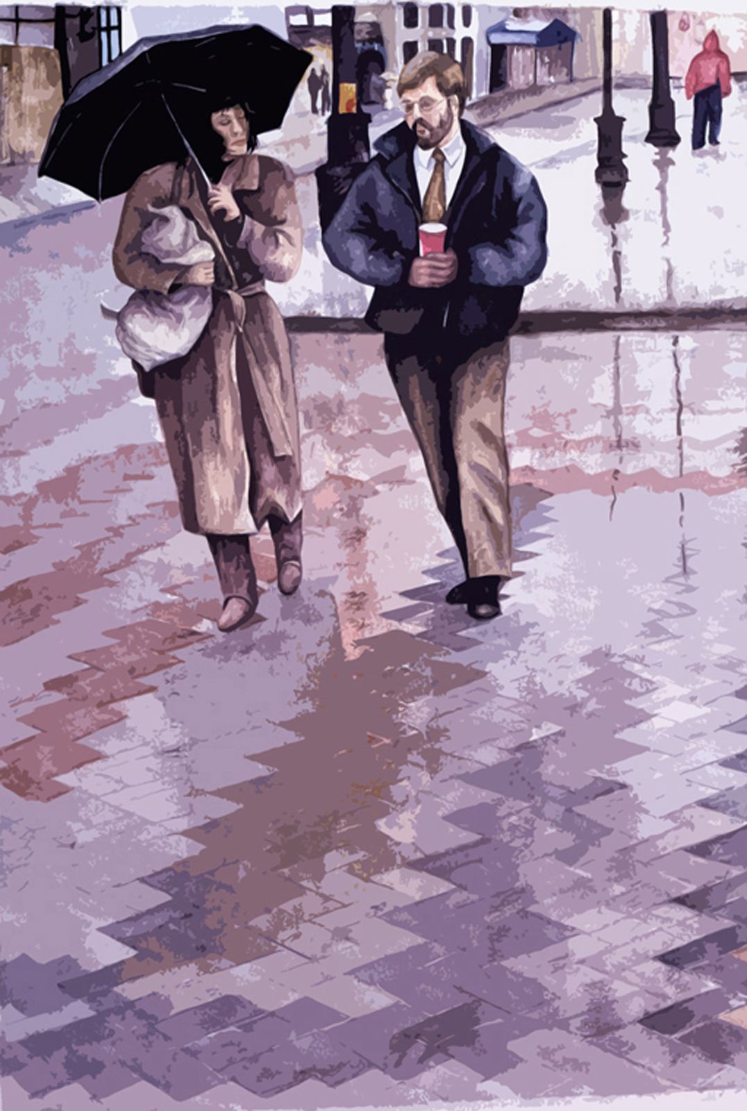 Coffee and Umbrellas  Watercolor Susan S