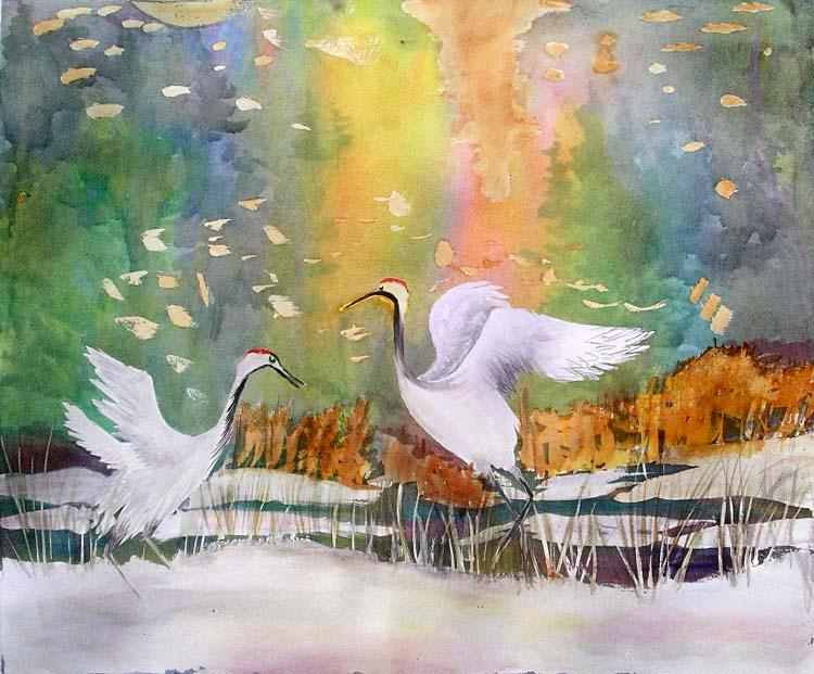 Cranes Dancing in the Snow - Sanders