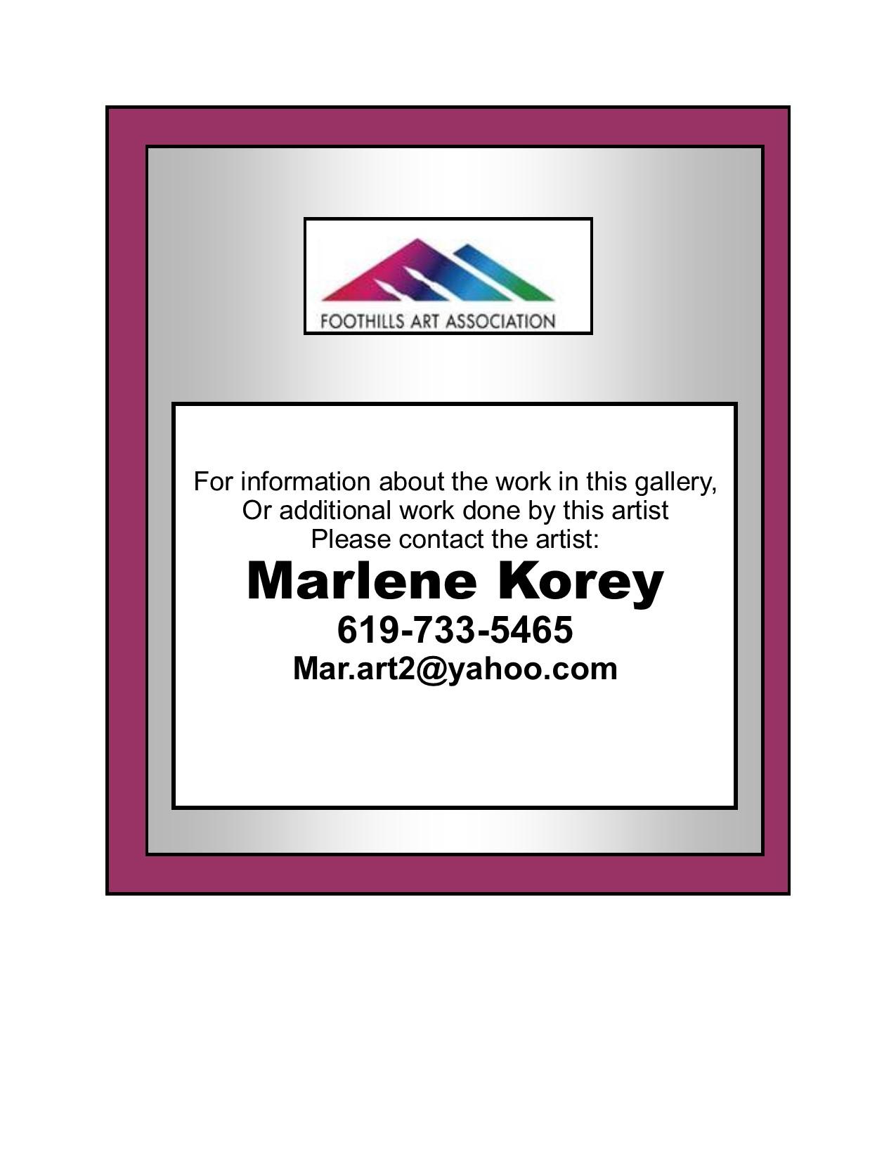 Contact Marlene Korey