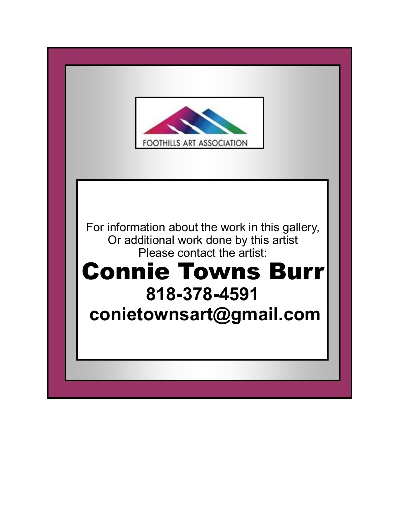 Towns Burr, Connie contact