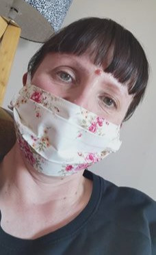 Cream Rose print face mask