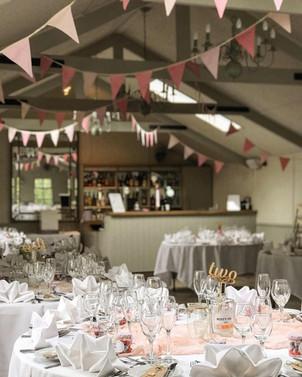 Rose Pink bunting at Blagdon Parlour