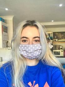 Grey polka dot face mask
