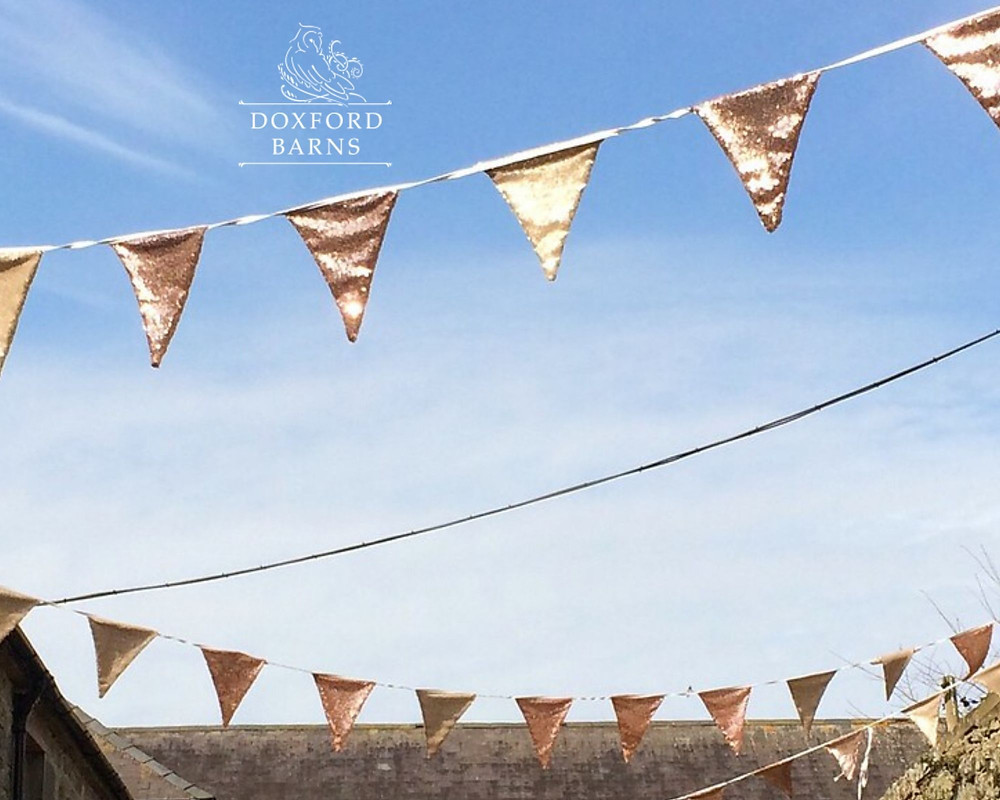 Sequin wedding bunting up at Doxford Barns Northumberland