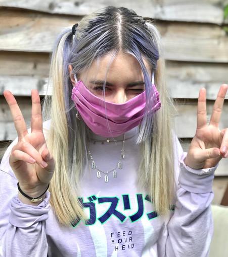 Mauve cotton face mask