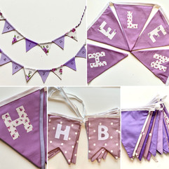Bunting in purples