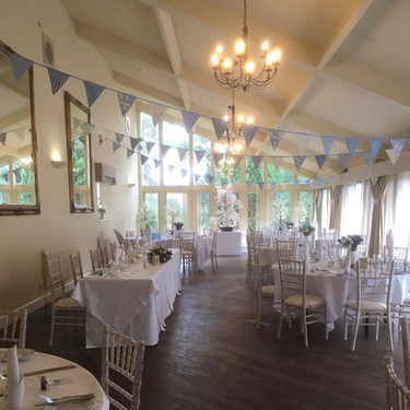 Pale Blue bunting in the Restaurant