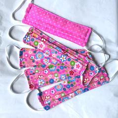 Pink polka dot and floral face masks
