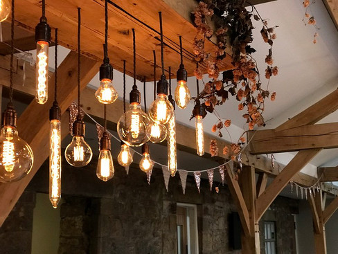 Gold Sequin bunting decorating Doxford Barns