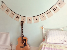 Musical bunting on cotton calico