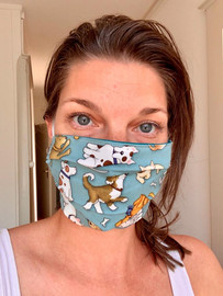 Teal dog cotton face mask