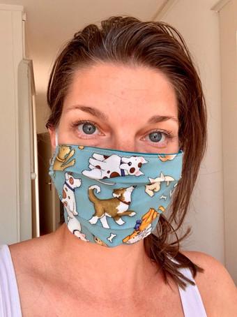 Teal dog cotton face mask
