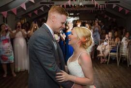 Rose pink wedding bunting at Blagdon Parlour