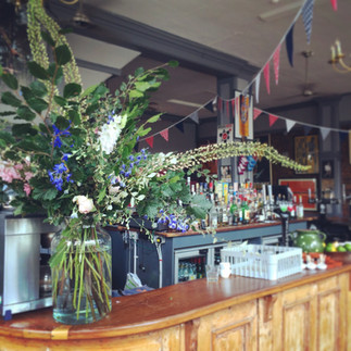 Navy and coral wedding bunting at the londesborough