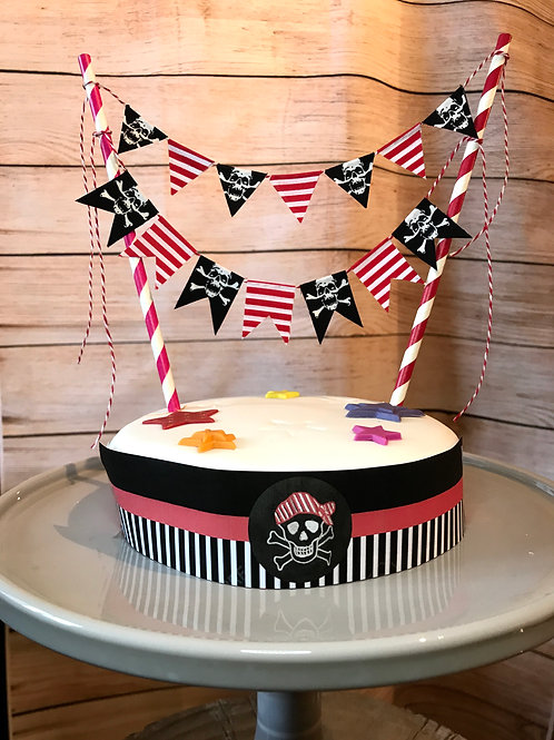 Pirate Party fabric cake topper bunting