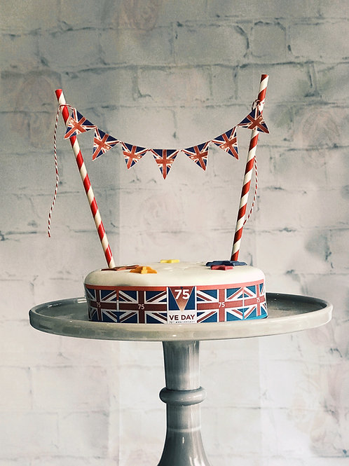 Vintage Union Jack and USA cake bunting topper