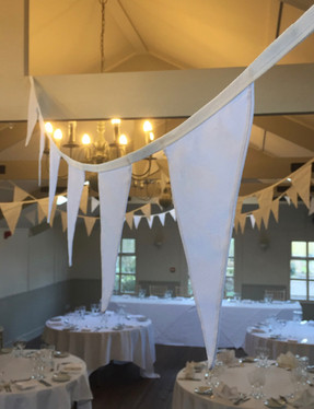 White bunting up at Blagdon Parlour