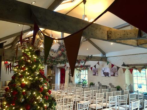 Christmas silk bunting at Blagdon Parlour