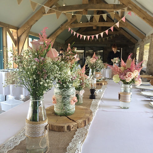 Rose pink bunting at Healey Barn