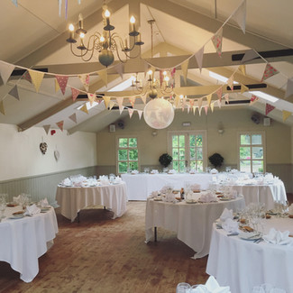 Vintage bunting up in the Willow Room at Blagdon Parlour