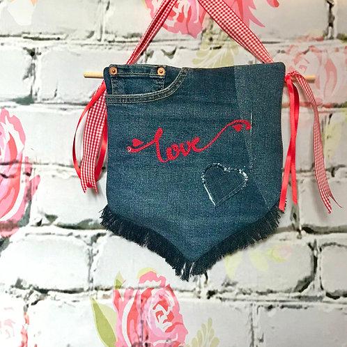 """Pocket full of LOVE"" vintage denim wall hanging"